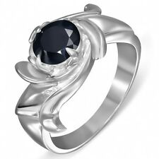 Stainless Steel Circle Twisted Cocktail Promise  Ring Black Onyx CZ Sz 8.5   b62