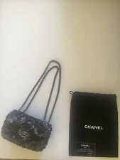 Authentic Chanel Silver Sequin Crystals Small Evening Handbag