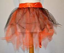 NEW  BLACK ORANGE SKIRT WRAP TUTU UNDERSKIRT RAG WITCH PETTICOAT XS-XXL