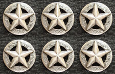 "Set of 6 WESTERN HEADSTALL SADDLE ANTIQUE SILVER STAR CONCHOS 1-1/8"" screw back"