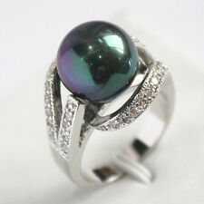 Multi-Color Black Green Pink Shell Pearl Jade Coral Tigereye 18KWGP Crystal Ring