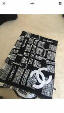 Chanel Logo cashmere wool black white scarf wrap (Chanel VIP Gift)