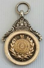 Vtg 1932 Thomas Fattorini Darts Medal Pocket Watch Fob Pendant Silver &Rose Gold