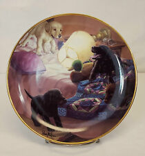 "Franklin Mint SLUMBER PARTY Labrador Puppies Dog Lab 8"" Plate by Randy McGovern"