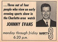 1965 Tv Ad~JOHNNY EVANS with SPORTS on WBTV in CHARLOTTE,NORTH CAROLINA