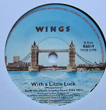 "WINGS - With A Little Luck - Excellent Condition 7"" Single Parlophone R 6019"