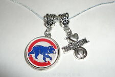 """CHICAGO CUBS 18"""" NECKLACE WITH 2 CHARMS by the COSTUME JEWELRY KING-QUALITY"""