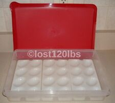 NEW TUPPERWARE RED COLD CUT KEEPER,3 (24) WHT DEVILED EGG TRAYS (TRAYS USED DEMO