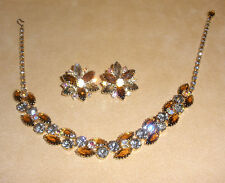 Juliana Necklace & Earring Set in Cognac Brown, Black Diamond, & AB Densely Set