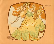 GIOVANNI MATALONI MAGNIFICA LITOGRAFIA LIBERTY ORIGINALE 1906 LIBERALITAS