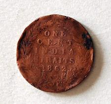 1 cent S/settlement 1862 coin # 112