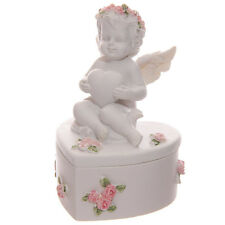 Collectable Cherub Angel Decorative Trinket Box with Pink Roses Height 9.5cm