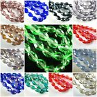 100Pcs Charms Faceted Glass Crystal Finding Spacer Loose Oval Rugby Beads 6x8mm