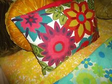 PIER 1 IMPORTS EMBROIDERED CREWEL FLORAL PINK RED GREEN (1) OBLONG THROW PILLOWS