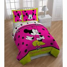 Disney Minnie Mouse Neon Twin / Full Size Comforter and Shams set