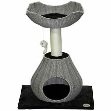 Go Pet Club 35-inch Grey Wicker Cat Tree and Bed