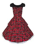 Alternative 50s Vintage Red Tartan Tattoo Flock Rockabilly Tiered Dress New 8-18