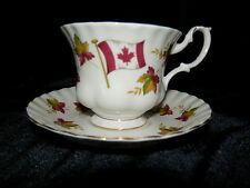 Royal Albert Bone China CANADA Maple Leaf & Flag Cup & Saucer England