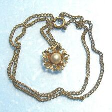 "Golden pendant & 16"" chain with a real pearl B5"