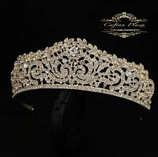 Tiara M Diadem Krone Rhinestone Crystal Hair Accessories Gold Bridal Jewellery