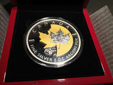 2013 Canada 25th Anniversary 5 oz. Pure Silver Maple Leaf with Selective Gold Pl