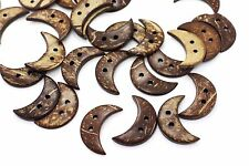 Large Moon Coconut Button Moon-shaped Two Holes Brown Natural Shell 33mm 2pcs