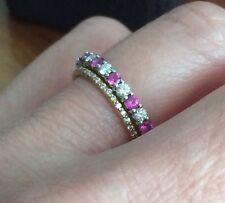 Tiffany & Co. Platinum Pink Sapphire Diamond Eternity Band Ring Shared Prong