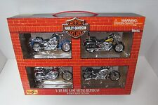 HARLEY DAVIDSON 2001 SET OF 4 MOTORCYCLES MAISTO DIE CAST 1/18 IN CARRY CASE