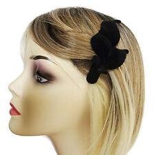 Noir floqué velours look concorde cheveux poignée bec clip 11 cms avec un motif feuille