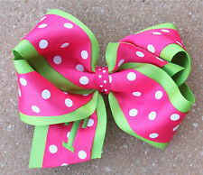 Personalized Embroidered Lime Green Hot Pink Polka Dot Hair Bow for Girl's