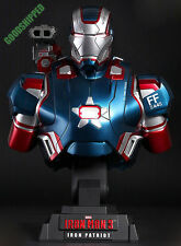 HOT TOYS IRONMAN 3 III IRON PATRIOT DON CHEADLE 1/4 BUST STATUE LED 230MM MISB