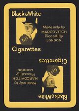 1 SINGLE VINTAGE PLAYING SWAP CARD WIDE TOBACCO BLACK & WHITE CIGARETTES YELLOW