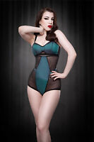 Kiss Me Deadly Jezebel High Waisted Vintage Knickers Size S/8 Teal/Black BWNT
