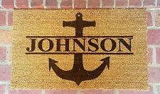 Personalized Anchor Laser Engraved Welcome Mat, 100% Natural Coir Fiber