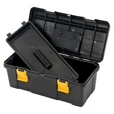 "New 19"" Plastic Tool Box with Handle Tray & Compartment Storage"