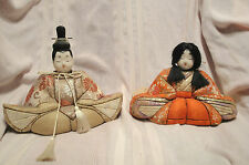 Beautiful Vintage Japanese Obi Fabric Emperor Empress Doll Pair