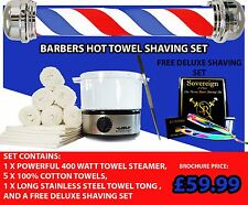 BARBER SHOP TOWEL WARMER . TOWEL STERILIZER  CABINET WITH FREE DELUX SHAVING SET
