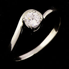 Wedding Stainless Steel Cubic Zirconia Womens Fashion Round Lady Rings Size 8