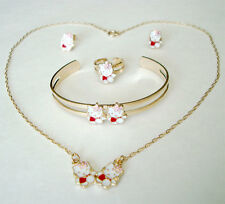 Gold Plated HELLO KITTY Red Girls Necklace, Bangle, Ring, Earrings 5 Piece Set