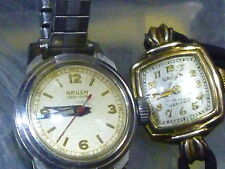 Gruen Veri-Thin (lot of 2)  Vintage Ladies 20mm & 16mm Manual Winding Watches