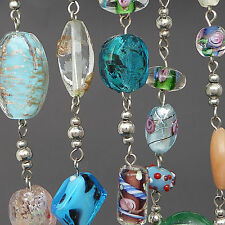 "PREMIER DESIGNS VENETIAN ART GLASS BEAD NECKLACE LAMPWORK WEDDING CAKE 36"" LONG"
