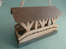 Wooden Covered Bridge w/ Rusty Roof Christmas Ornament NEW w/Tags