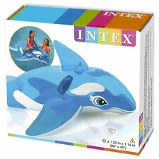 "Intex Inflatable Big  Lil' Whale Ride-On Pool Float  Size 60"" x 45"" Blue 58523NP"