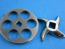 """#8 x 5/8"""" DISC PLATE & KNIFE SET Meat Grinder Grinding Stainless Steel"""