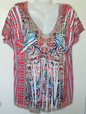 NEW UNITY ONE WORLD SUBLIMATION BLOUSE TOP 1X 18 20 PINK STUDS BLUE GREEN RED