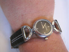 Liz Claiborne Watch, New in Box, Silver-Tone, Black Face, Leather Band,  LC1038