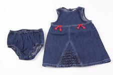 GYMBOREE KIDS GIRLS BLUE DENIM RED CHERRY BOW DRESS UNDERWEAR SET 18-24M NEW