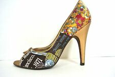 CARLOS SANTANA Shoes 6M Gold Multi color open toe high heel women's Floral Pumps