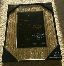 """*NEW* Gold Sparkle Glitter photo frame, 5x7"""" / 13x18cm. Straight Glitter."""