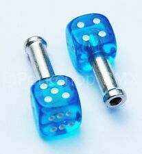 Trik Topz DICE bicycle brake cable end tips crimps (PAIR) CLEAR BLUE w/ WHITE